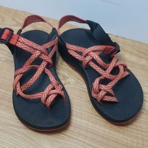 Chaco orange and yellow sandals size 6